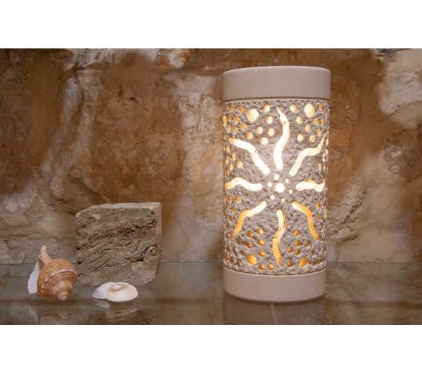 Lampada cilindrica Forata con sole inciso