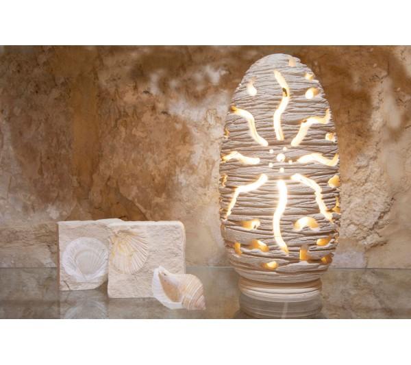 Lampada ovale forata con sole inciso